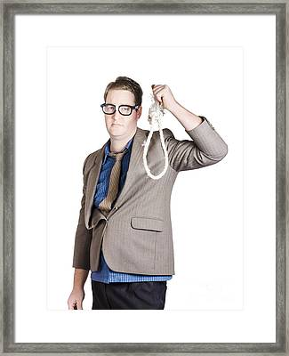 Helpless Businessman Holding Rope With Tied Noose Framed Print by Jorgo Photography - Wall Art Gallery
