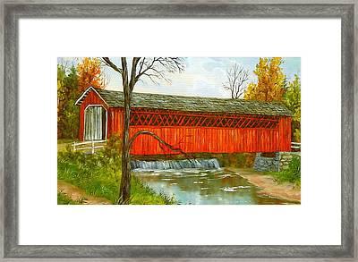 Henry Bridge Vt. Framed Print by Marveta Foutch