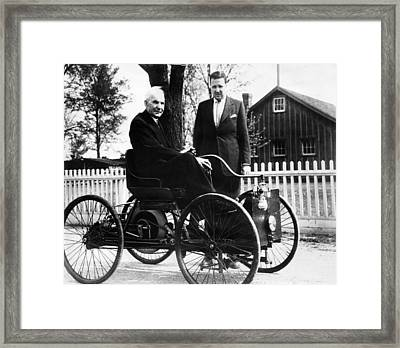 Henry Ford Sits In His First Ford Car Framed Print by Everett