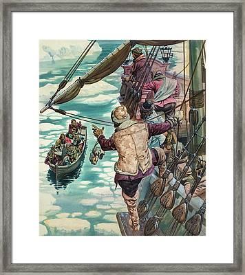 Henry Hudson Being Set Adrift Framed Print by Peter Jackson