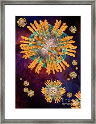 Hepatitis C Virus Particles Or Virions. Framed Print by Russell Kightley