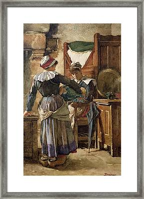 Her First Born Framed Print by Walter Langley
