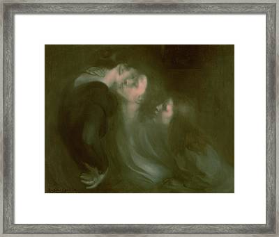 Her Mother's Kiss Framed Print by Eugene Carriere