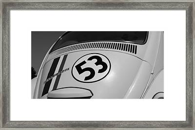 Herbie The Love Bug B W Framed Print by Rob Hans