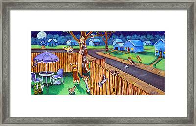 Herding Cats - Pembroke Welsh Corgi Framed Print by Lyn Cook
