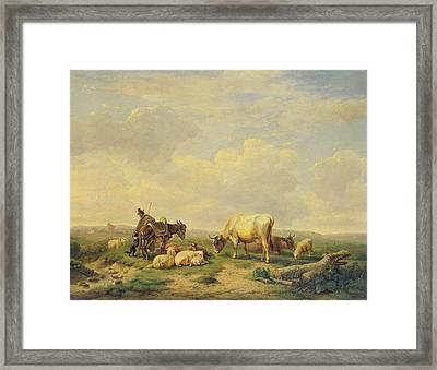 Herdsman And Herd Framed Print by Eugene Joseph Verboeckhoven