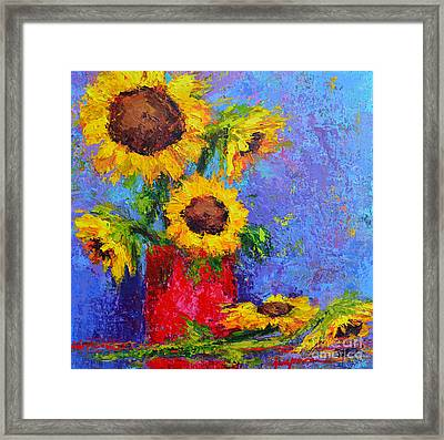 Here Comes The Sunshine Modern Impressionist Floral Still Life Palette Knife Work Framed Print by Patricia Awapara