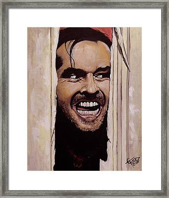 Here's Johnny Framed Print by Tom Carlton