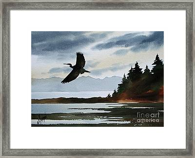 Heron Silhouette Framed Print by James Williamson
