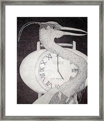 Heron Time Framed Print by Shane Bechler