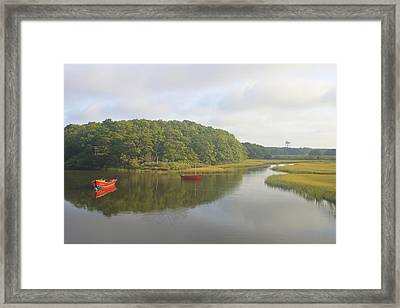 Herring River And Red Boats Cape Cod Framed Print by John Burk