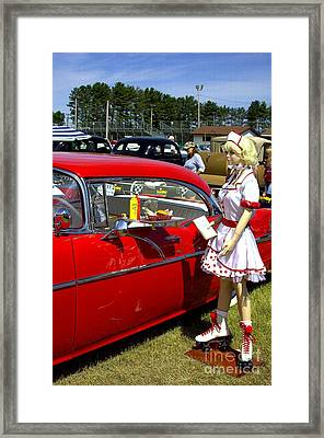 hey babe...Nice wheels Framed Print by The Stone Age