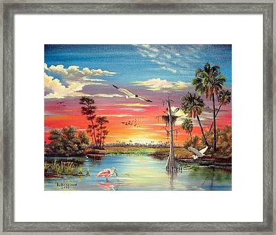 Hidden Refuge Sunset Framed Print by Riley Geddings