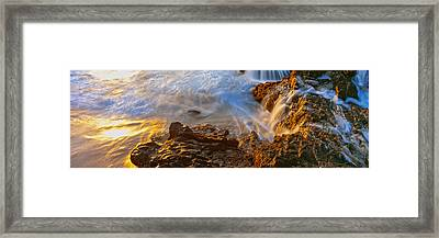 High Angle View Of Surf On The Coast Framed Print by Panoramic Images