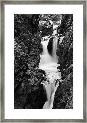 High Falls Gorge Black And White Framed Print by Sierra Vance