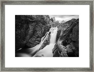 High Falls Gorge Wilmington Ny New York First Waterfall Black And White Framed Print by Toby McGuire