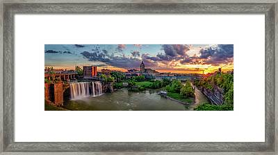 High Falls Panorama Framed Print by Mark Papke
