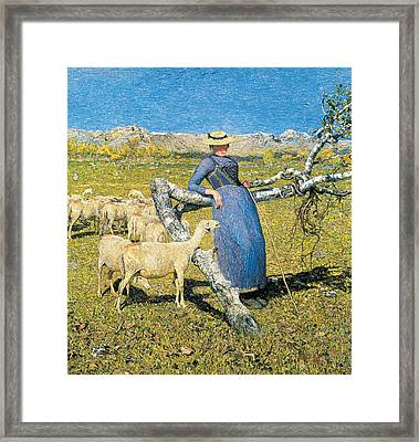 High Noon In The Alps Framed Print by Giovanni Segantini