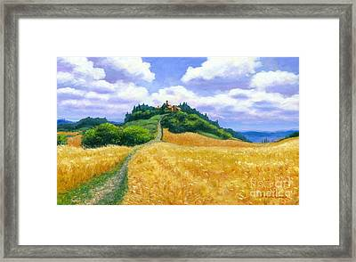 High Noon Tuscany Oil On Canvas Framed Print by Michael Swanson