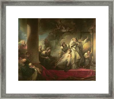 High Priest Coresus Sacrificing Himself To Save Callirhoe Framed Print by Jean-Honore Fragonard