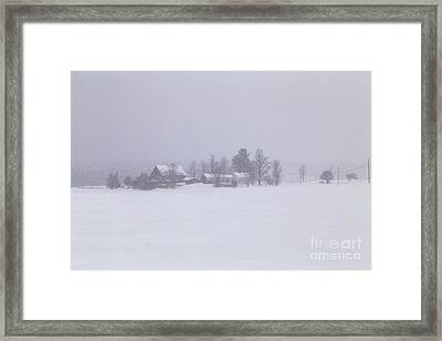 Highland Road Barn In The Snow Framed Print by Benjamin Williamson