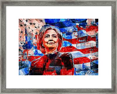 Hillary Clinton Framed Print by Sampad Art