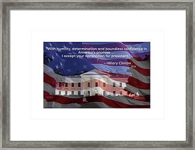 Hillary Clinton's Acceptance Speech Framed Print by J Pearson Photos