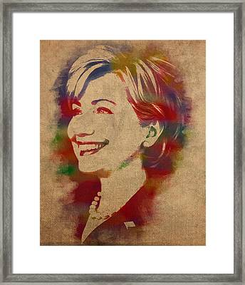 Hillary Rodham Clinton Watercolor Portrait Framed Print by Design Turnpike