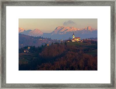 Hilltop Church Framed Print by Blaz Gvajc