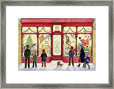 Hilltop Toys And Games Framed Print by Lavinia Hamer