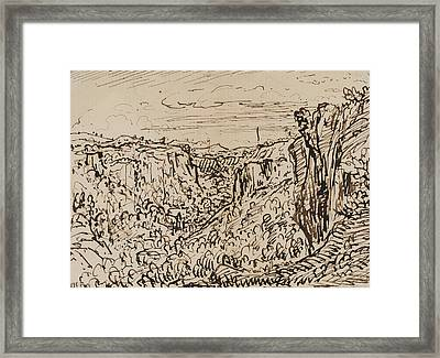 Hilly Landscape Framed Print by Theodore Roussel