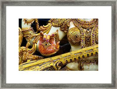 Hindu Goddess Saraswati Detail Framed Print by Tim Gainey