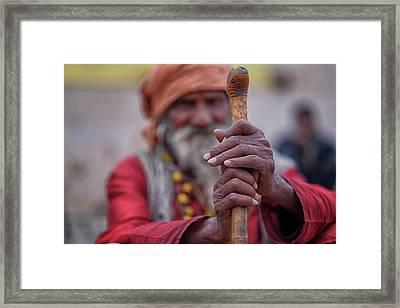 hindu Holy Man Hands Framed Print by David Longstreath