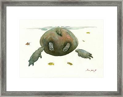 Hippo Mom With Baby Framed Print by Juan Bosco