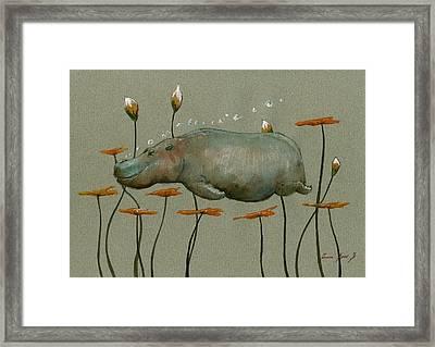 Hippo Underwater Framed Print by Juan  Bosco