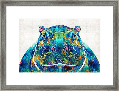 Hippopotamus Art - Happy Hippo - By Sharon Cummings Framed Print by Sharon Cummings