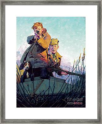 His First Duck Framed Print by Norman Rockwell