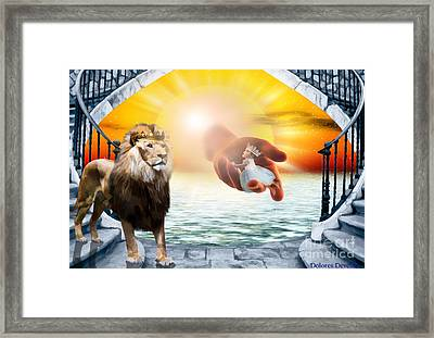 His Hand Is Never To Short Framed Print by Dolores Develde