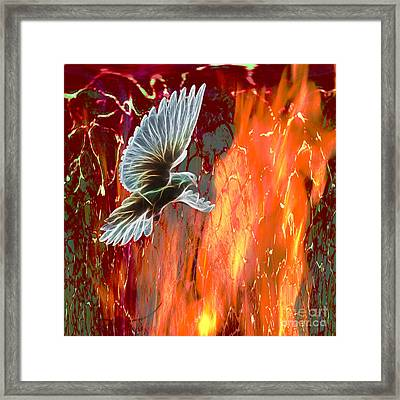 His Holy Fire Framed Print by Beverly Guilliams