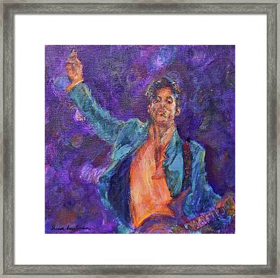 His Purpleness - Prince Tribute Painting - Original Framed Print by Quin Sweetman