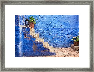 Historic Blue Stairs Framed Print by Jess Kraft