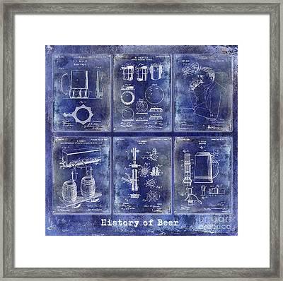 History Of Beer Patents Blue Framed Print by Jon Neidert