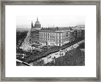 Hitler Enters Vienna Framed Print by Underwood Archives