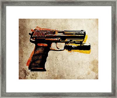 Hk 45 Pistol Framed Print by Michael Tompsett