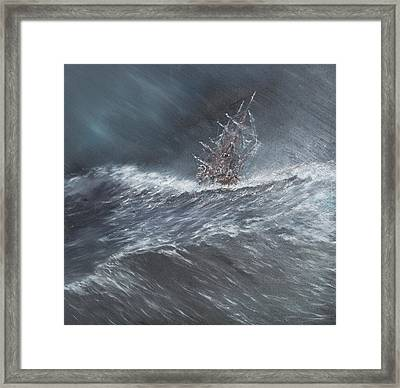 Hms Beagle In A Storm Off Cape Horn Framed Print by Vincent Alexander Booth