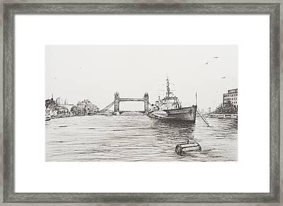 Hms Belfast On The River Thames Framed Print by Vincent Alexander Booth