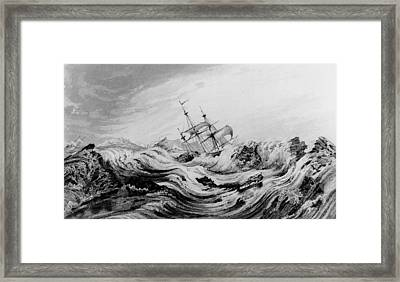 Hms Dorothea Commanded By David Buchan Driven Into Arctic Ice Framed Print by English School