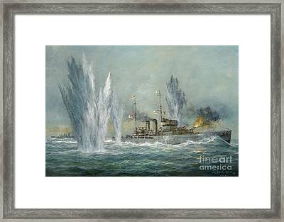 Hms Exeter Engaging In The Graf Spree At The Battle Of The River Plate Framed Print by Richard Willis