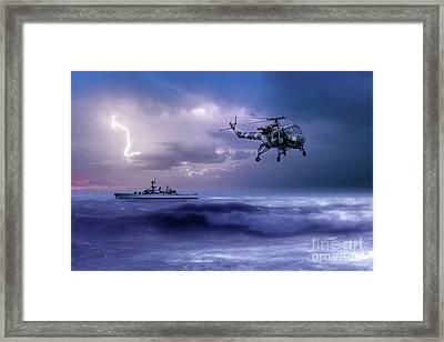 Hms Leander And The Wasp Framed Print by J Biggadike