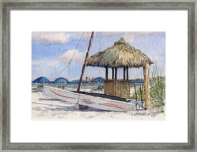 Hobie And Tiki On Crescent Beach Framed Print by Shawn McLoughlin